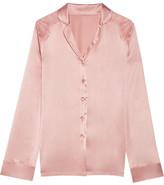 I.D. Sarrieri Chantilly Lace-paneled Silk-blend Satin Pajama Shirt - Blush