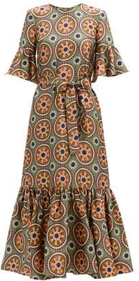 La DoubleJ Curly Swing Abstract-print Silk Midi Dress - Green Multi