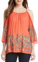 Karen Kane Riviera Embroidered Cold Shoulder Top