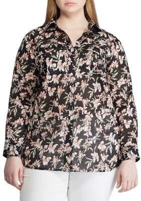 Lauren Ralph Lauren Plus Floral Print Cotton Button-Down Shirt