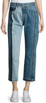 Rag & Bone Magnolia Two-Tone Cropped Jeans, Blue