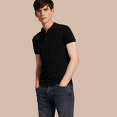 Burberry Contrast Trim Cotton Piqué Polo Shirt