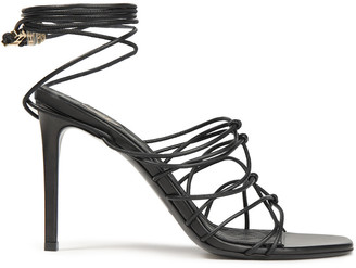 Balmain Mikki Lace-up Knotted Leather Sandals