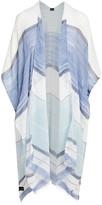 Lvs Collections LVS Collections Women's Kimono Cardigans BLUE - Blue & White Color Block Kimono - Women