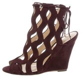 Alexandre Birman Suede Cage Wedge Sandals w/ Tags