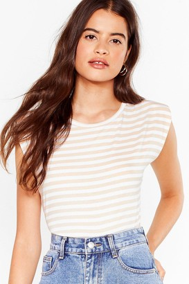 Nasty Gal Womens It's Not All Shoulder Pad Striped Tee - Black - 4