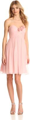 Donna Morgan Women's Mary Strapless Chiffon with Rosettes Dress