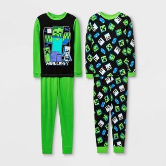 Minecraft Boys' 4pc Pajama Set - Green/Black