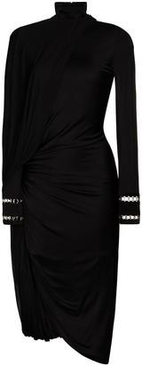 Burberry High Neck Draped Midi Dress
