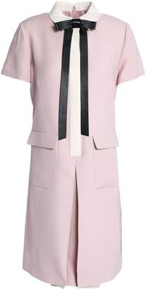 Valentino Bow-embellished Pleated Wool And Silk-blend Mini Dress