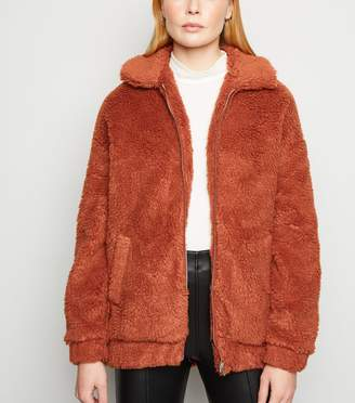 New Look Cameo Rose Teddy Bomber Jacket