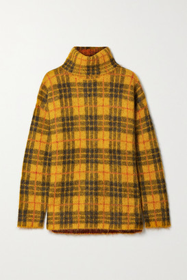 Monse Oversized Cutout Checked Knitted Turtleneck Sweater - Mustard