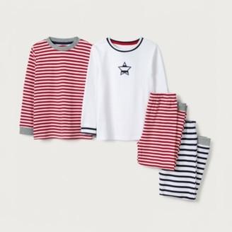 The White Company Star & Stripe Pyjamas Set of 2 (1-12yrs), Multi, 7-8yrs
