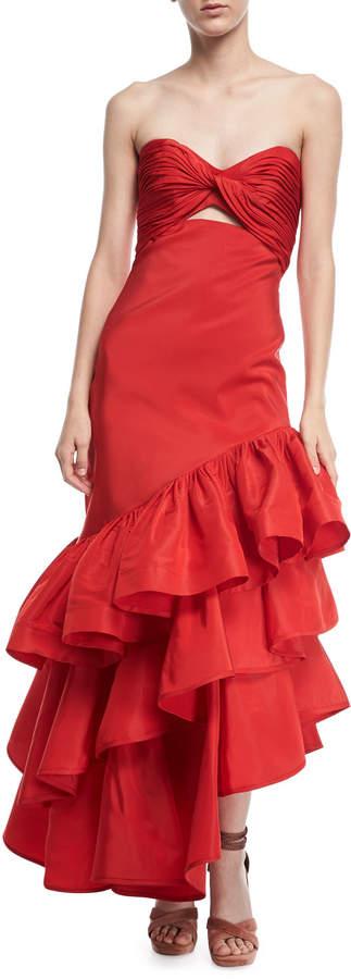 Johanna Ortiz Spicy Margarita Strapless Bustier Ruffle Tiered Silk Faille Evening Dress