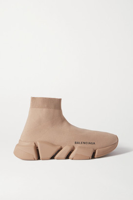 Balenciaga Speed 2.0 Stretch-knit High-top Sneakers - Beige