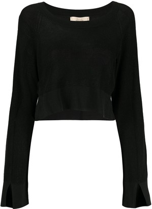 Maison Flaneur Cropped Long-Sleeve Jumper