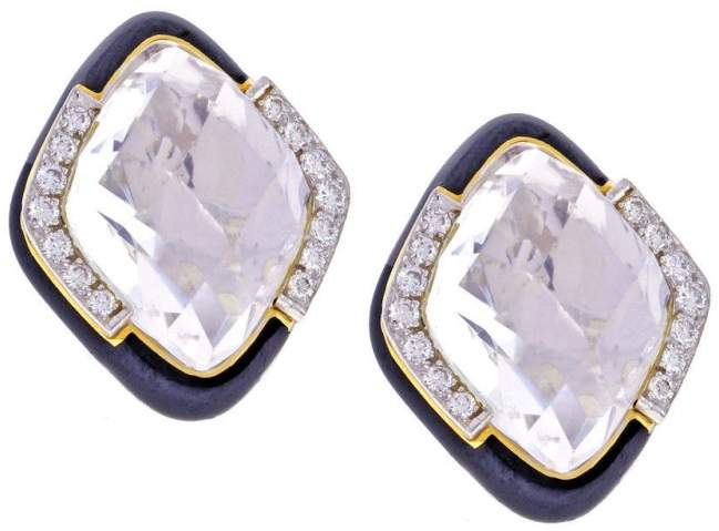 David Webb 18K Yellow Gold & Platinum with Diamond Earrings