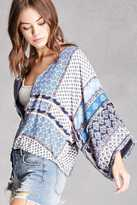 Forever 21 FOREVER 21+ Abstract Zip-Up Kimono Jacket