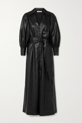 Alice + Olivia Alice Olivia - Zarita Belted Vegan Leather Maxi Shirt Dress - Black