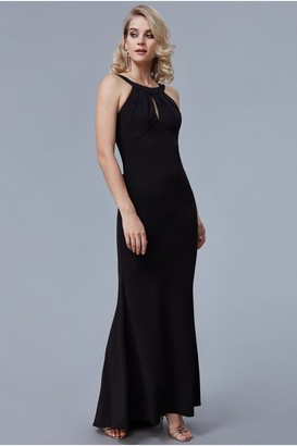 Goddiva Black Halter Open Back Frill Detail Maxi Dress
