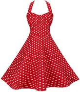 BI.TENCON Women's Retro 1950s Style Red Polka Dot Halter Fit and Flare Cotton Dress 2XL