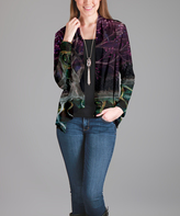 Lily Purple Open-Front Three-Quarter Sleeve Cardigan - Plus Too
