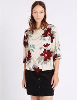 Marks and Spencer Floral Print 3/4 Sleeve Shell Top
