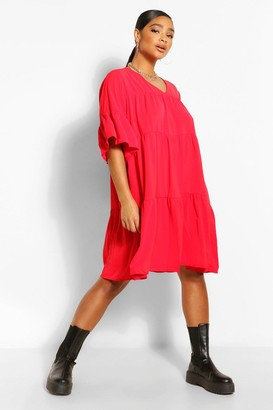 boohoo Plus Ruched Detail Smock Dress