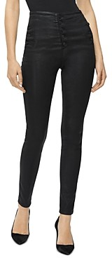 J Brand Natasha Button-Fly Coated Skinny Jeans in Fearful