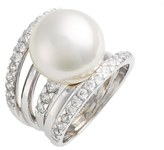 Majorica Women's 16Mm Round Simulated Pearl Cubic Zirconia Ring