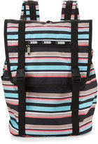 Le Sport Sac Journey Striped Flap-Top Backpack, Tennis Stripe