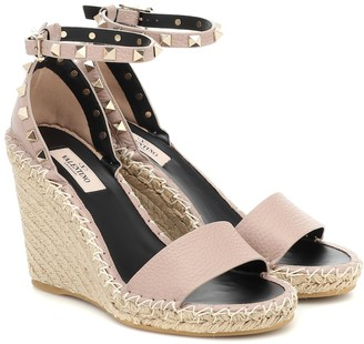 Valentino Rockstud Double leather wedge espadrilles