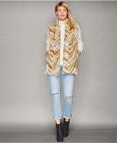 The Fur Vault Coyote Fur Chevron-Striped Vest
