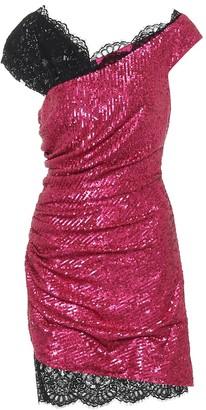Dundas Sequin draped minidress