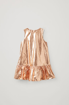 Cos Cotton Frilled Panel Metallic Dress