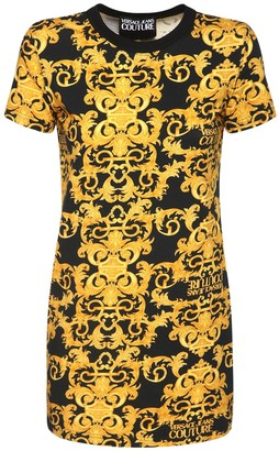 Versace Jeans Couture Printed Cotton Jersey Mini T-Shirt Dress