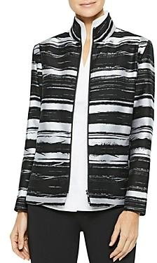Misook Abstract Stripe Zip-Front Jacket