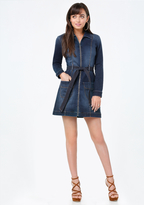 Bebe Denim Zip Up Shirtdress