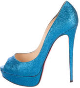 Christian Louboutin Lady Peep 150 Glitter Pumps