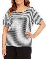 Calvin Klein Plus Stripe Short Sleeve Top