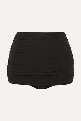 Norma Kamali Bill Ruched Bikini Briefs - Black