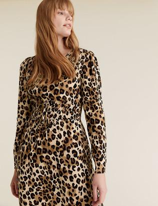 Marks and Spencer Animal Print V-Neck Midi Waisted Dress