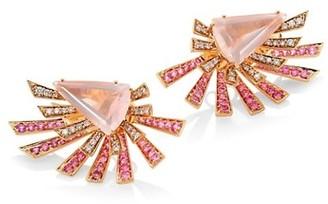 Hueb Mirage Burst Diamond, Rose Quartz, Pink Sapphire & 18K Rose Gold Front-Back Earrings