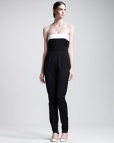 Valentino Techno Couture Strapless Bow-Back High-Waist Jumpsuit