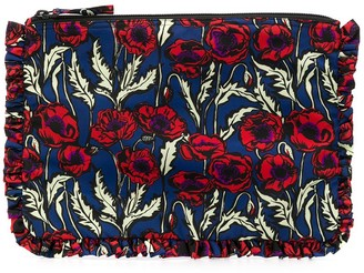 La DoubleJ Floral-Print Ruffled Clutch Bag