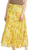Lauren Ralph Lauren Moriah Floral Georgette Maxi Skirt, Yellow