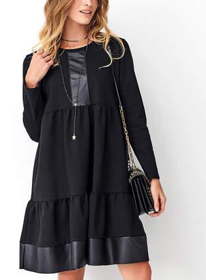 Numinou Women's Casual Dresses black - Black Faux Leather-Accent Tiered Shift Dress - Women
