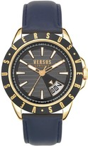 Versus Versace Versus Versace Black and Gold Detail DayDate Dial Black Leather Strap Mens Watch