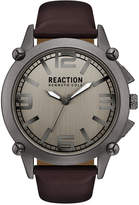 Kenneth Cole Reaction Men's Brown Faux-Leather Strap Watch 49mm 10030947