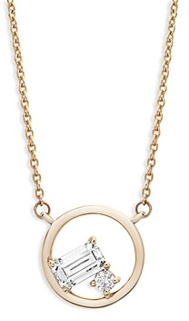Bloomingdale's Emerald Cut and Round Diamond Necklace in 14K Yellow Gold, 0.20 ct. t.w. - 100% Exclusive